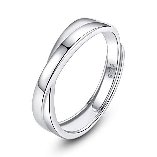 VIKI LYNN Anillo de compromiso ajustable de plata de ley 925 para hombre y mujer, para pareja