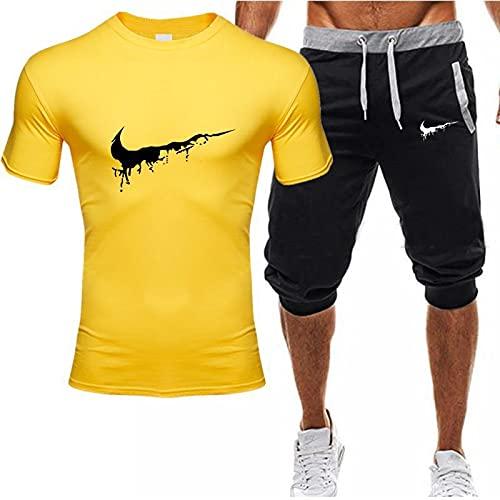Chándal de Verano para Hombre, Conjunto de Jogging, Pantalones Cortos para Correr en el Gimnasio + Conjunto de Camiseta, Conjunto de Ejercicio con Bolsillos con Cremallera Amarillo-2 XXL