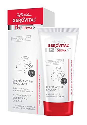Gerovital H3 Derma+, Crema antiarrugas emoliente SPF 30, Tipo de piel: Seca sensible, 30 ml