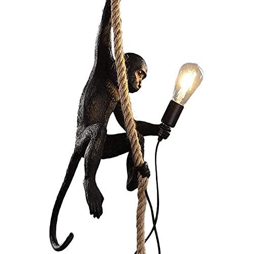 Lámpara del mono del estilo industrial del vintage, lámpara creativa de la resina de la personalidad del arte, lámpara del mono de la cuerda del cáñamo, lampara cuerda vintage,E27-negro