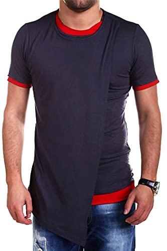 Zytyeu Shirt Uomo Chic personalità Manica Corta Top Uomo Splicing Orlo Irregolare Design Top Uomo Estate Girocollo vestibilità Regolare T-Shirt Uomo Casual Confortevole Shirt Uomo