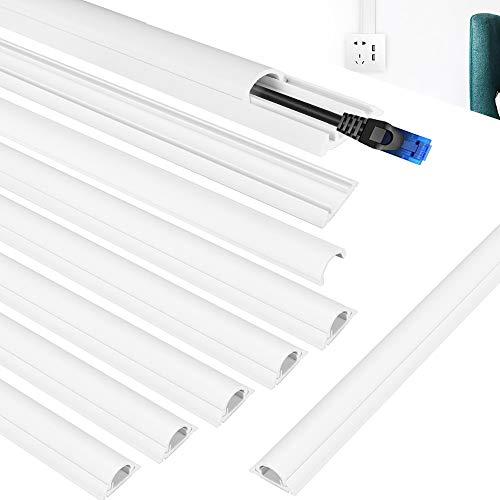 """LYTIVAGEN 8 PCS Canal de PVC Canaletas de Cables Adhesiva Canales Portacables Impermeable Trunking Cubierta de Cable para Ocultar y Proteger Cables, Blanco (40cm/15.7"""")"""