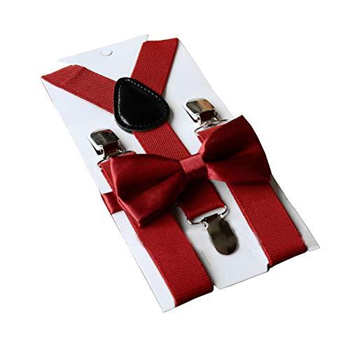 vipolish 1 Juego Sólido Rojo Profundo Juego de Tirantes de Tirantes Ajustable Y-Band Sling Correa Clips Pre-Tied Bow Tie Suspender Colgante Falda de pantalón...