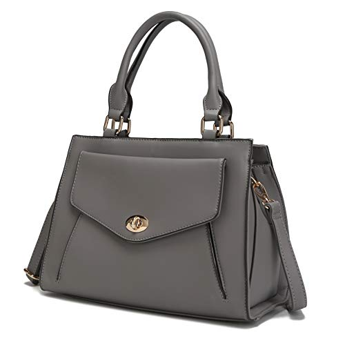 MKF Shoulder Bags for Women – PU Leather Pocketbook Purse, Stylish Satchel – Crossbody Strap, Top Handle Handbag Grey