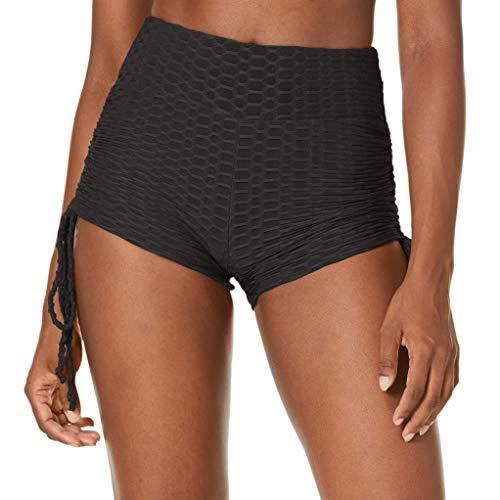 Amazon Brand Hikaro Women High Waisted Ruched Butt Lifting Athletic Hot Tight Leggings Power Flex Sport Shorts Black X Large