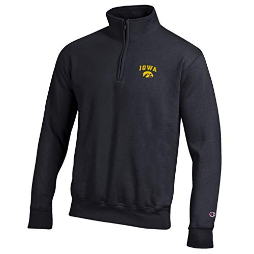 Champion NCAA Iowa Hawkeyes Eco Powerblend Pocketless 1/4 Zip, X-Large, Black
