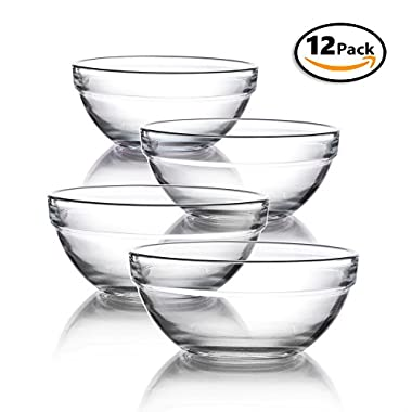 Mini 3.5 Inch Glass Bowls for Kitchen Prep, Dessert, Dips, and Candy Dishes or Nut Bowls, Set of 12