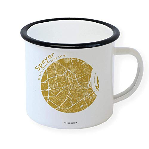 Speyer Emaille Tasse Retro Design Becher, Stadtplan in 5 Farben, Home Office Büro Zuhause Garten, Schwarzer Tassenrand