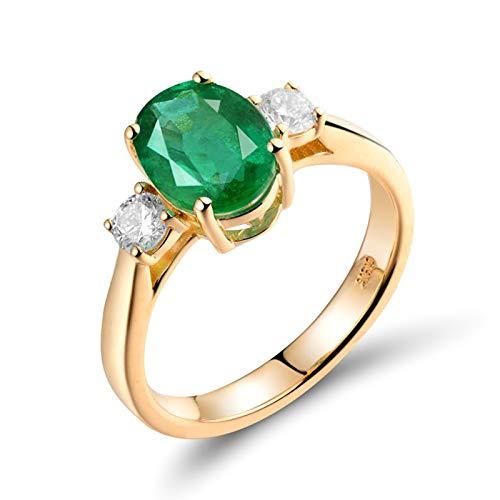 Beydodo Anillo Boda Mujer,Anillo de Boda Oro Amarillo 18 Kilates Mujer Oro Verde Oval Esmeralda Verde 1.65ct Diamante 0.3ct Talla 23,5(Circuferencia 63MM)