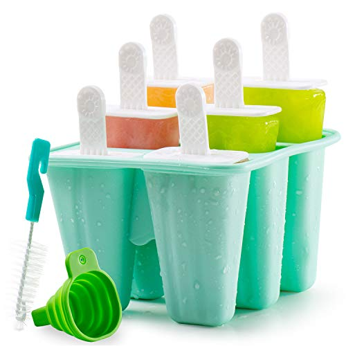 Popsicle Molds, 6 Pieces Silicone Ice Pop Molds Reusable Easy Release Ice Pop Maker for DIY Frozen Popsicle with Silicone Funnel and Cleaning Brush