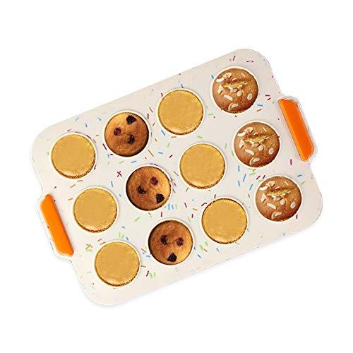 KeepingcooX Moule à muffins en silicone pour 12 muffins ou cupcakes, moule à pâtisserie, plaque en silicone beige pour muffins, cupcakes et mini gâteaux, 30 x 21 cm, Yorkshire pudding et pâtisserie