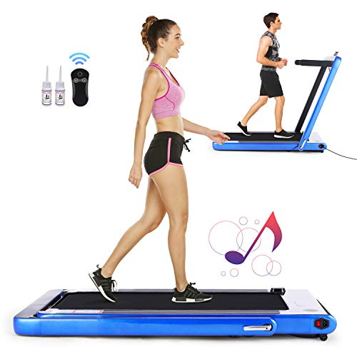 FUNMILY Folding Treadmill, Under Desk Smart Electric Treadmill with Remote Control and Bluetooth Speaker & LCD Monitor, 2 in 1 Walking Running Machine Trainer Equipment for Home Gym (Silver) Treadmills
