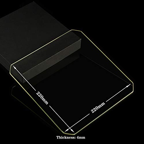 220mm x 220mm x 4mm Chamfer Borosilicate Glass Build Plate For 3D Printers, Perfectly Flat Glass With Polished Edges