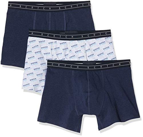 Scotch & Soda Herren Bedruckte und einfarbige 3er-Pack Boxershorts, Mehrfarbig (Combo A 0217), Medium (Herstellergröße:M)