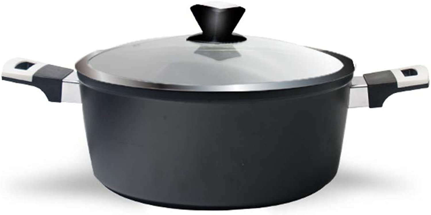 Soup Pot Die-Casting Double-Eared Pot Forging Pot - with Lid - 11Inch - Tempered Glass Cover Rust-Proof and Physical Non-Stick Pan Simmering Pot