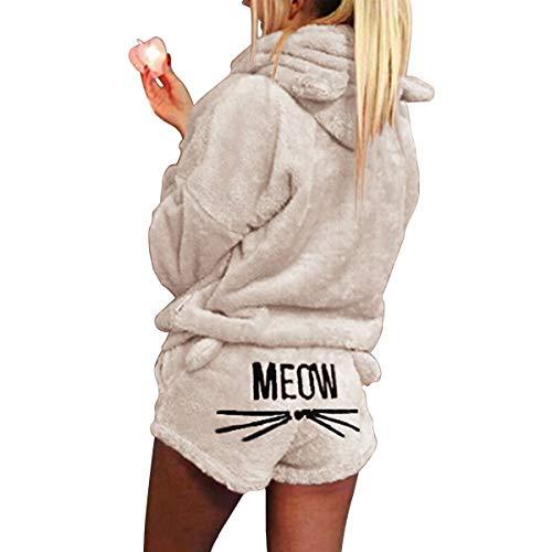 2Pcs Femmes Chat Broderie Pyjamas à Capuche Filles Mignonnes Chat Oreille Vêtements de Nuit Doux Peignoir Shorts Hiver Salon Vêtements de Nuit Ensembles
