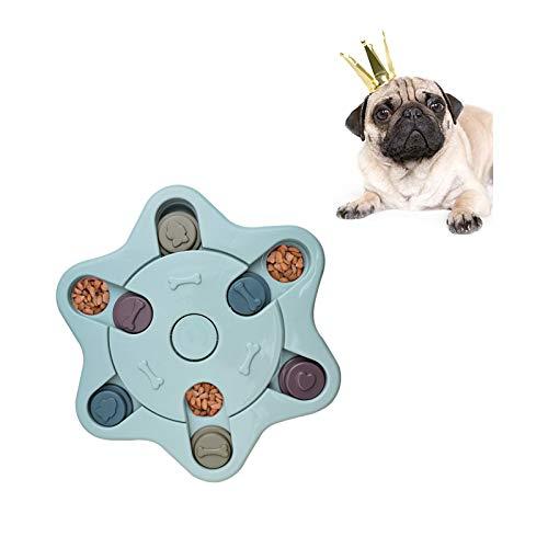 Andiker Juguete de Puzle para Perros, Rompecabezas Interactivo Duradero para Perros, Dispensador de Premios para Perrito, Alimentador Lento para Perros (Azul)