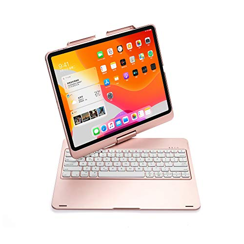 New iPad 12.9 Keyboard Case 2020&2018, TechCode 7 Color Backlit Wireless Bluetooth Keyboard with 360° Rotating Case Smart Keyboard Cover Auto Sleep/Wake for iPad Pro 12.9 inch 3rd/4th Gen,Rose Gold