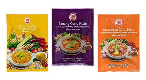 CockBrand 3 pastas de curry diferentes por g (Panang,