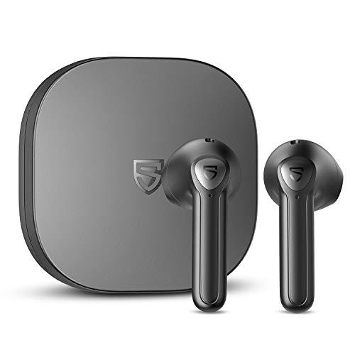 SOUNDPEATS TrueAir2+ ワイヤレスイヤホン aptX Adaptiveサポート ワイヤレス充電対応 QCC3040チップセット搭載 低遅延ゲーミングモード bluetooth イヤホン 小型 TrueWireless Mirroring対応 4-mic cVc ノイズキャンセリンク機能付き ブルートゥース イヤホン インナーイヤー型 サウンドピーツ 完全ワイヤレス イヤホン ヘッドホン (黒)