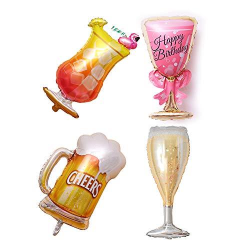 Folienballon 4 Stück Weinglas schwimmend Party Ballon Deko Alufolie Ballon Home Supplies