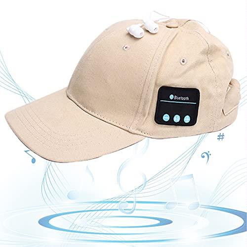 Gorro Bluetooth, Gorra de Música Bluetooth, Gorra de Béisbol Sonido HD, Espera Larga, Sombrero para Sol, Regalos Cumpleaños para Amigos, Familias,Beige