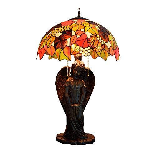LFK Lámpara de mesa grande de lujo de gama alta para sala de estar, dormitorio, bar, recepción, vestíbulo, cristal, lámpara de mesa estilo Tiffany, luz de mesa de ángel de uva 50 x 81 cm