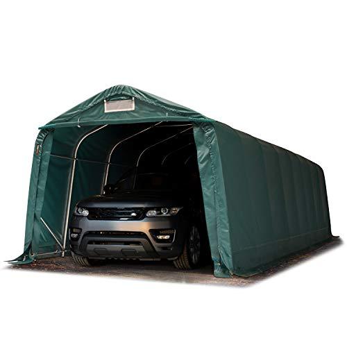 TOOLPORT Garagenzelt Carport 3,3 x 9,6 m in dunkelgrün Weidezelt Unterstand Lagerzelt mit 550 g/m² PVC Plane und Stabiler Stahlrohrkonstruktion