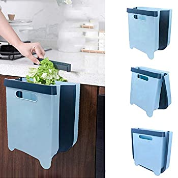 Hanging Trash Can for Kitchen Cabinet Door Compact Portable Foldable Garbage Can Small Collapsible Waste Bin for Bathroom Bedroom Office Car 9 liters/2.4 Gallon  Blue