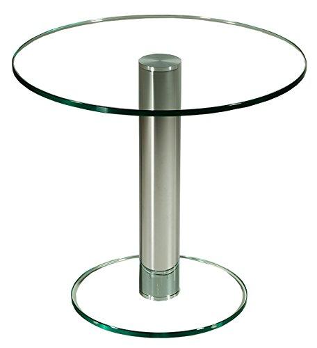 Darwin1270-A tischdesign24 Ecktisch mit 12mm Glasplatte. Mittelsäule in 80mm rund Chrom gebürstet und versiegelt. Bodenplatte Klarglas, Tischplatte Klarglas ohne Ablage Größe: 55 x 55 cm Rund