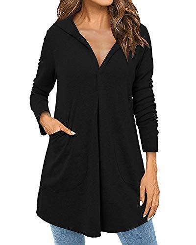 ABYOXI Damen V Ausschnitt Pullover Mit Kapuze Sweatshirts Tunika Loose Kapuzenpullover Hoodie Schwarz M