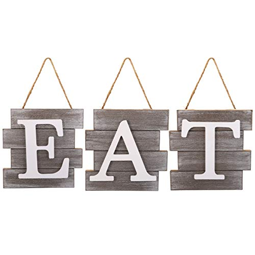 Cedilis Eat Sign Wall Decor, Rustic Hanging Wooden Letters, Decorative Country Wall Art for Kitchen, Dining Room, Home, Farmhouse Decor, Brown and White , 21IN x 8IN