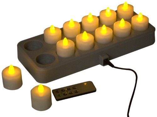 Mr. Light LED Rechargeable Tea Lights with Remote Control and Induction Charging Base, Amber, Set of 12