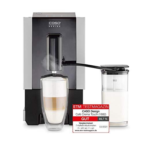 CASO Café Crema Touch, Design Kaffeevollautomat, inkl. Schlauch und Milchtank, Kegelmahlwerk stufenlos einstellbar, sofort startbereit, alle Kaffeespezialitäten per Touch, Schwarz, Edelstahl
