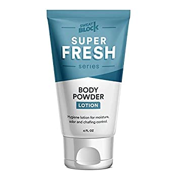 Super Fresh Body Powder Lotion by SweatBlock - Talc Free Anti-Chafing Deodorizing Natural Ingredients - No Mess Body Powder Lotion for Men and Women - 4 fl oz.