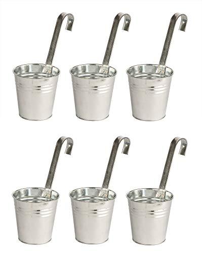 6er Set Hängetöpfe aus Zink - Mit Henkel - 13,3 x 13,5 cm - Blumentöpfe zum Hängen - Aus Metall - Kräutertöpfe
