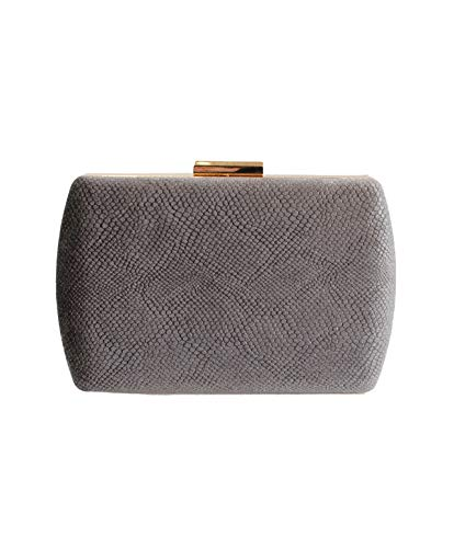 Eferri, Bolso de noche fiesta clutch Glamour para Mujer, Gris, 18x13x5 cm