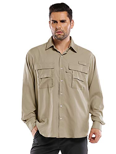 Aiegernle Men's Outdoor Quick Dry Sun UV Protection Nylon Long Sleeve Hiking Fishing Shirts, Khaki#5052, Small