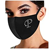 【USA in Stock】 Rhinestone Bling Letter Print Face Mask,Washable Reusable Mouth Cover Safety Protect Breathable Bandanas for Adult