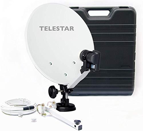 Telestar Camping-Sat-Anlage (Hartschalenkoffer, 13,7 Zoll (35 cm) Spiegel , Single-LNB (0,1dB), Kompass, Kabel 10m, diverse Halter)