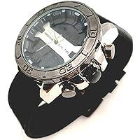 EXACTIME Reloj Analógico Digital Cronómetro Esfera en Negro Cromado Pulsera Negra Hombre Acero Inoxidable Water Resistant Nickel Free Moda 2019