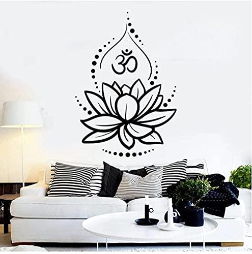 Flor de loto Yoga Hinduismo Hindu Om Símbolo Vinilo Tatuajes de pared Decoración para el hogar Sala de estar Arte Mural Pegatinas de pared extraíbles 58x42 cm