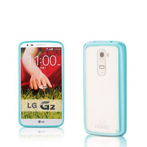 LG G2 | iCues TPU con Clear fondello Turchese | protettore foglio trasparente della cassa della pelle del gel Sereno Sereno silicone protezione Coperchio Coperchio [Sc Custodia Cover Case Tasca Borsa