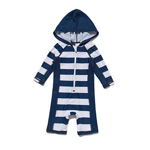 BONVERANO Baby Junge EIN stück 3/4 der ärmellänge UV-Schutz 50+ Badeanzug MIT Kapuze Reißverschluss