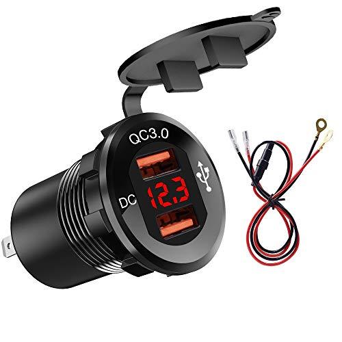 MiOYOOW Cargador de coche, cargador rápido de doble puerto USB QC3.0, adaptador para encendedor de cigarrillos para motocicleta, coche, camión, barco