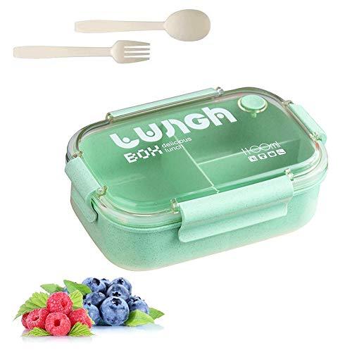 Brotbox Kinder,Lunchbox mit Fächern,Brotdose Kinder,Bento Box Kinder,Lunchbox Picknick,Lunchbox Kinder (Grün 6)