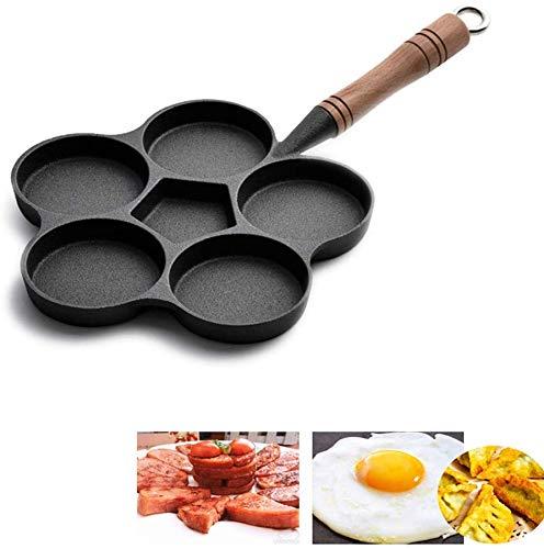 AGWa Poêle à oeufs Poêles à frire en fonte 6 grilles, poêlons à induction Pancake Induction, Save Food Oil, Black