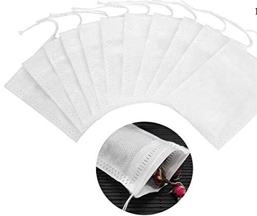 BetterJonny 100 bolsas de filtro de te, 7 x 9 cm, desechables, sin blanquear, bolsas de te vacias naturales para hierbas sueltas, tes y cafe