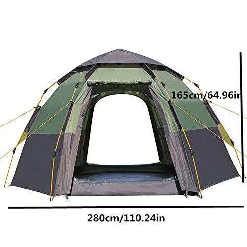 IHCIAIX New 5-8 Person Automatic Camping Tent, Ultralarge Tourist Gazebo Marquee Tent, 280x280x165cm Pop Up Self Driving Mongolian Tent,Army Green,CHINA