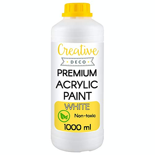 Creative Deco Acrylfarbe | Weiße Farbe | 1000 ml Flasche | Perfekt für Anfänger, Kinder, Studenten & Professionelle Künstler | Perfekt für Holz, Leinwand, Stoff und Papier